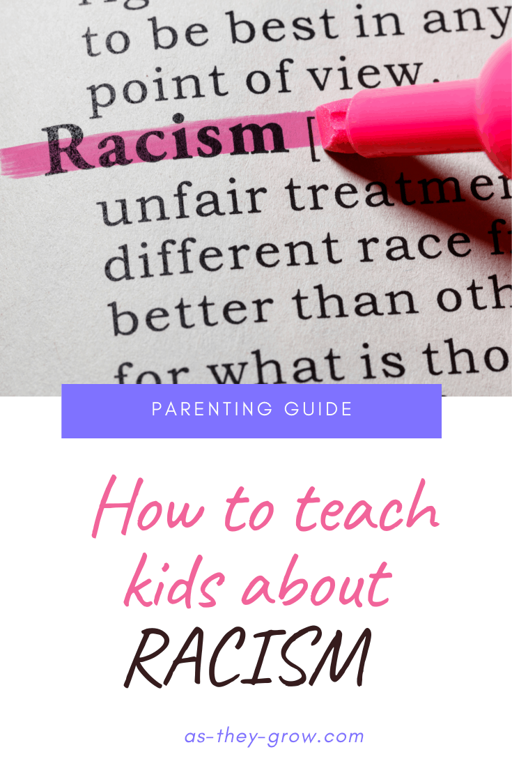 """Some text with the word 'racism' highlighted Caption says, """"How to teach kids about racism. As-they-grow.com."""""""