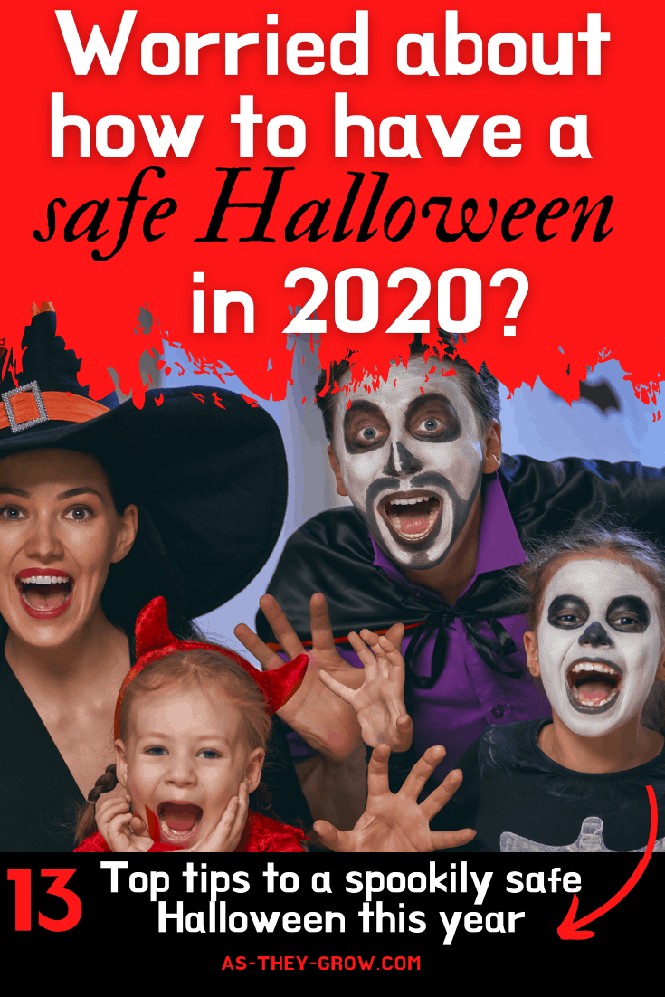 Worried about how to have a safe Halloween in 2020: 13 Top tips to a spookily safe Halloween this year. Family dressed for Halloween.