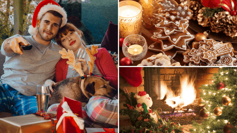 A couple curled up on the sofa with their dog for an online Christmas movie and dessert evening. An open fire and a tray of Christmas cookies and candles burning.