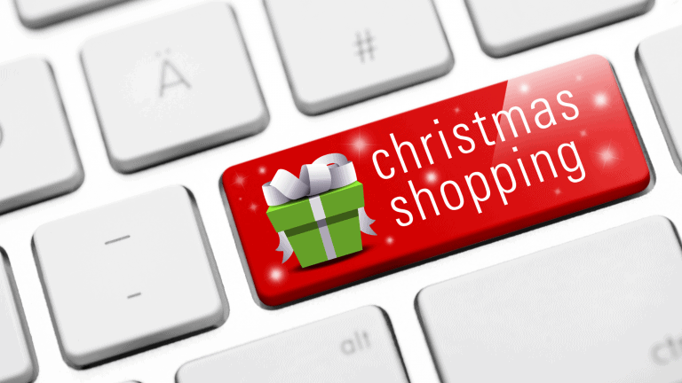 Keys on a keyboard with one button labelled Christmas shopping.