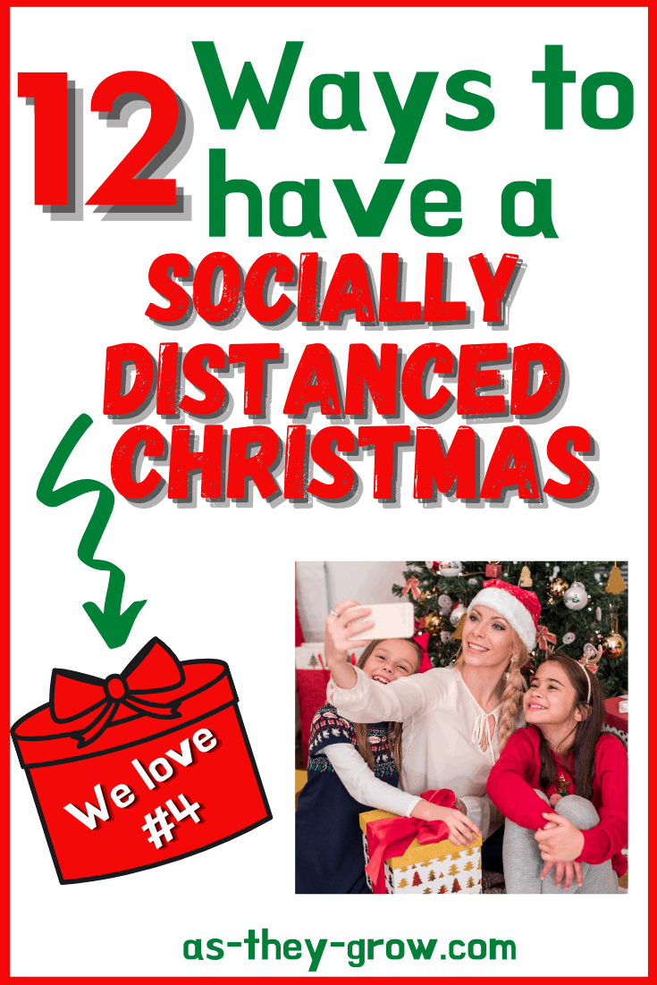 Pinterest pin –12 Ways to have a socially distanced Christmas. We love number 4. As-they-grow.com Mother and daughters on Facetime call in front of the Christmas tree.
