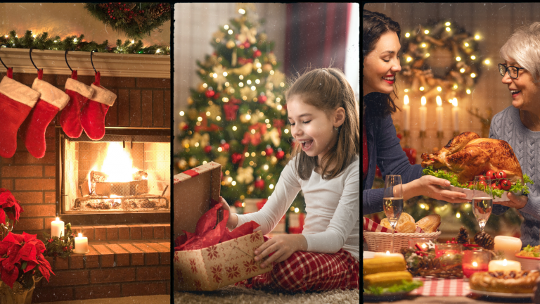 Pictures of an ideal Christmas: stockings hanging by an open fire, a child opening her presents and a family sharing a Christmas meal.