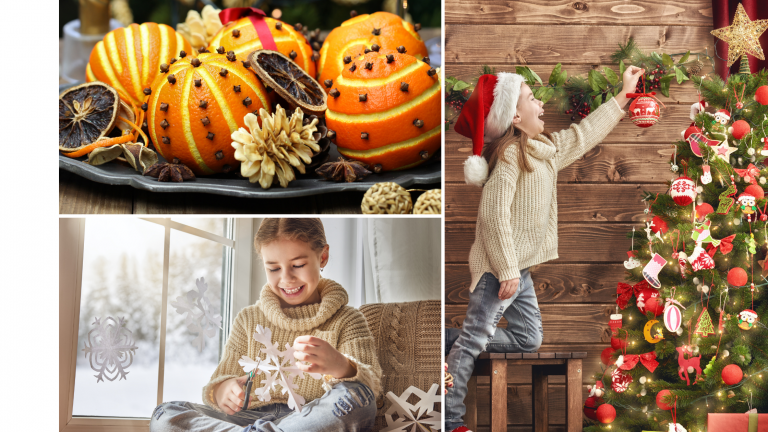 A compilation of photos showing a girl decorating a Christmas tree, making paper snowflakes and sticking them to a window and a bowl of orange and clove pomanders.