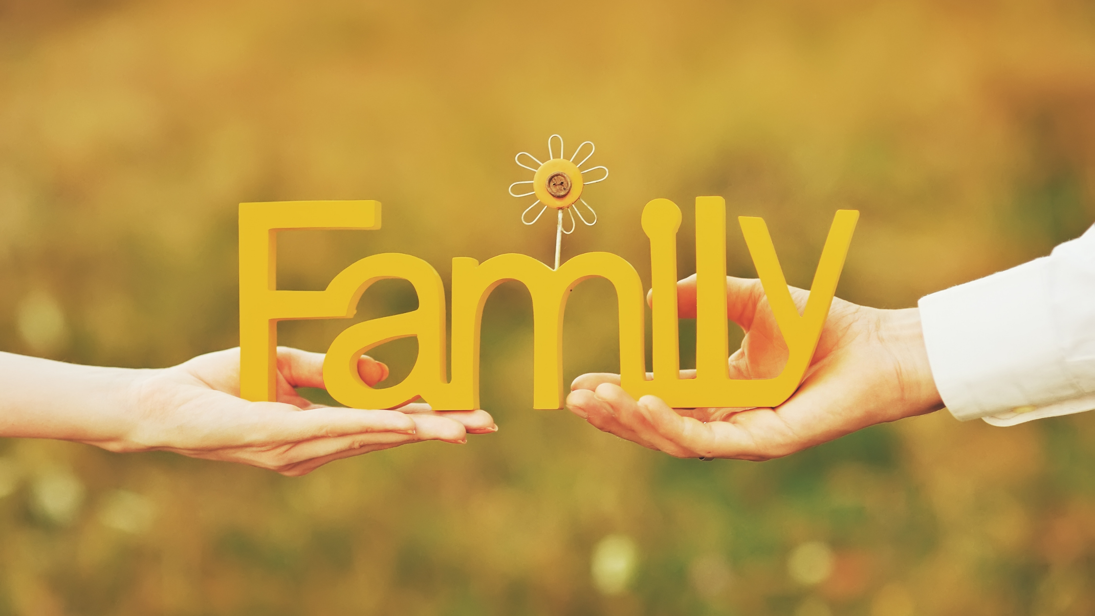 Two hands, one male, one female, holding a yellow wooden sign that says, 'family'.