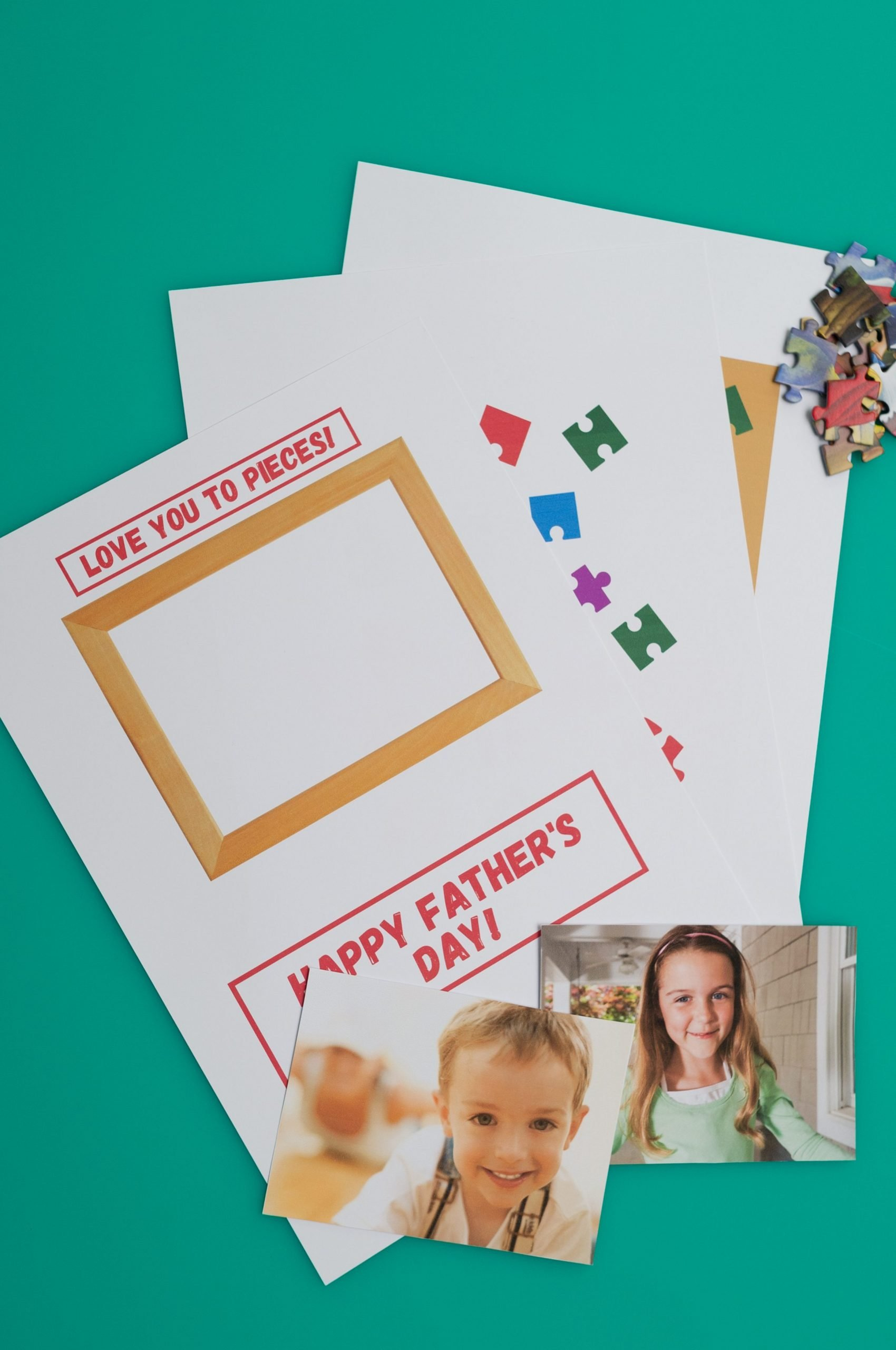 Father's Day card template, photos and puzzle pieces